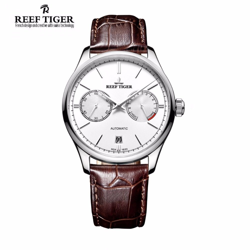Reef Tiger/RT Simple Business Watches for Men Power Reserve Date Steel White Dial Automatic Watch RGA1620 reef tiger designer fashion diamonds automatic watch with white mop dial steel watches for women rga1550