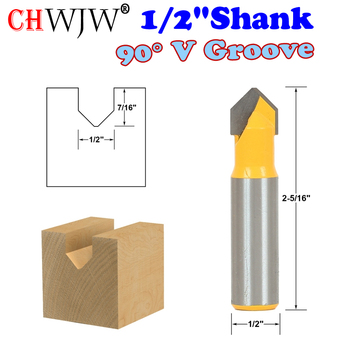 1pc 1/2 Shank 90 Degree  V Groove Sign Lettering Router Bit - 1/2 x 7/16 - CHWJW 14988 1pc superior tungsten carbide 3d chamfer bit carving tool v groove sharpen mill router bit shank 1 2 v px1 2x1 1 4