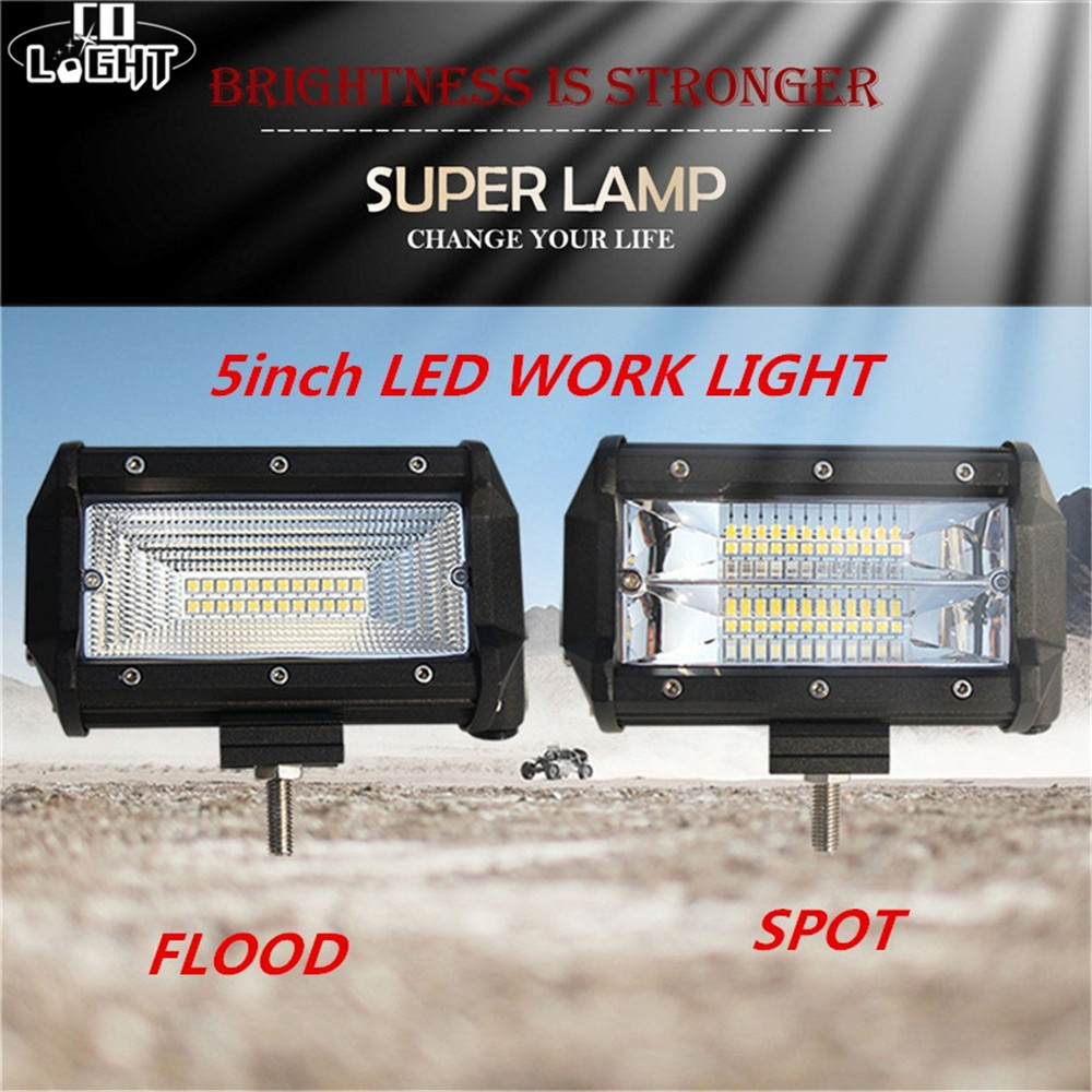 CO LIGHT Led Spot Flood Work Light Bar 72W 5 Inch 8000LM IP68 Voiture For All