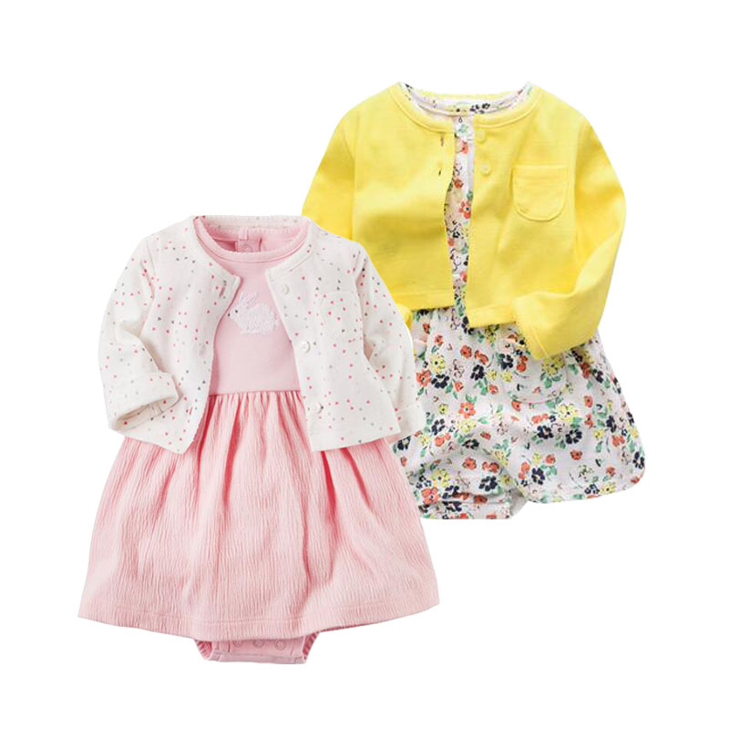 2018 Spring autumn Baby Girls Clothing Sets Newborn Baby girl Clothes Roupa Infant Jumpsuits Cotton Baby dresses 2 pieces set цена