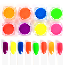 Meet Across 8 Boxes Neon Pigment Nail Powder Dust Ombre Glitter Gradient Iridescent Acrylic Colorful Art Decor