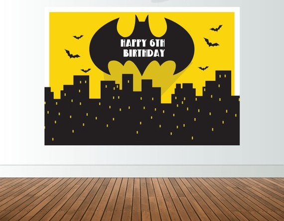 Custom Superhero Batman City Skyline Cartoon Birthday background Computer print party photo backdrop