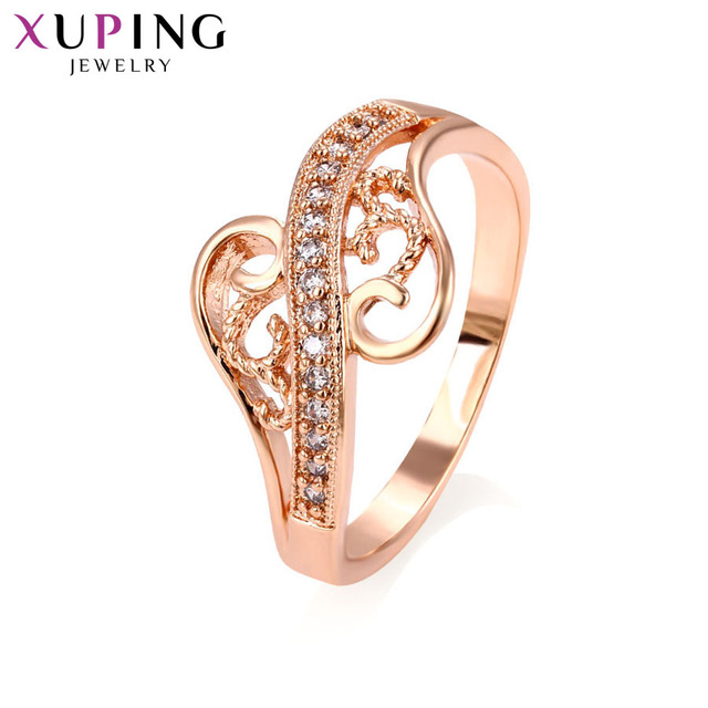 Xuping Luxury Elegant Rings Charm Style Rose Gold Color Plated Ring for Girl Wom