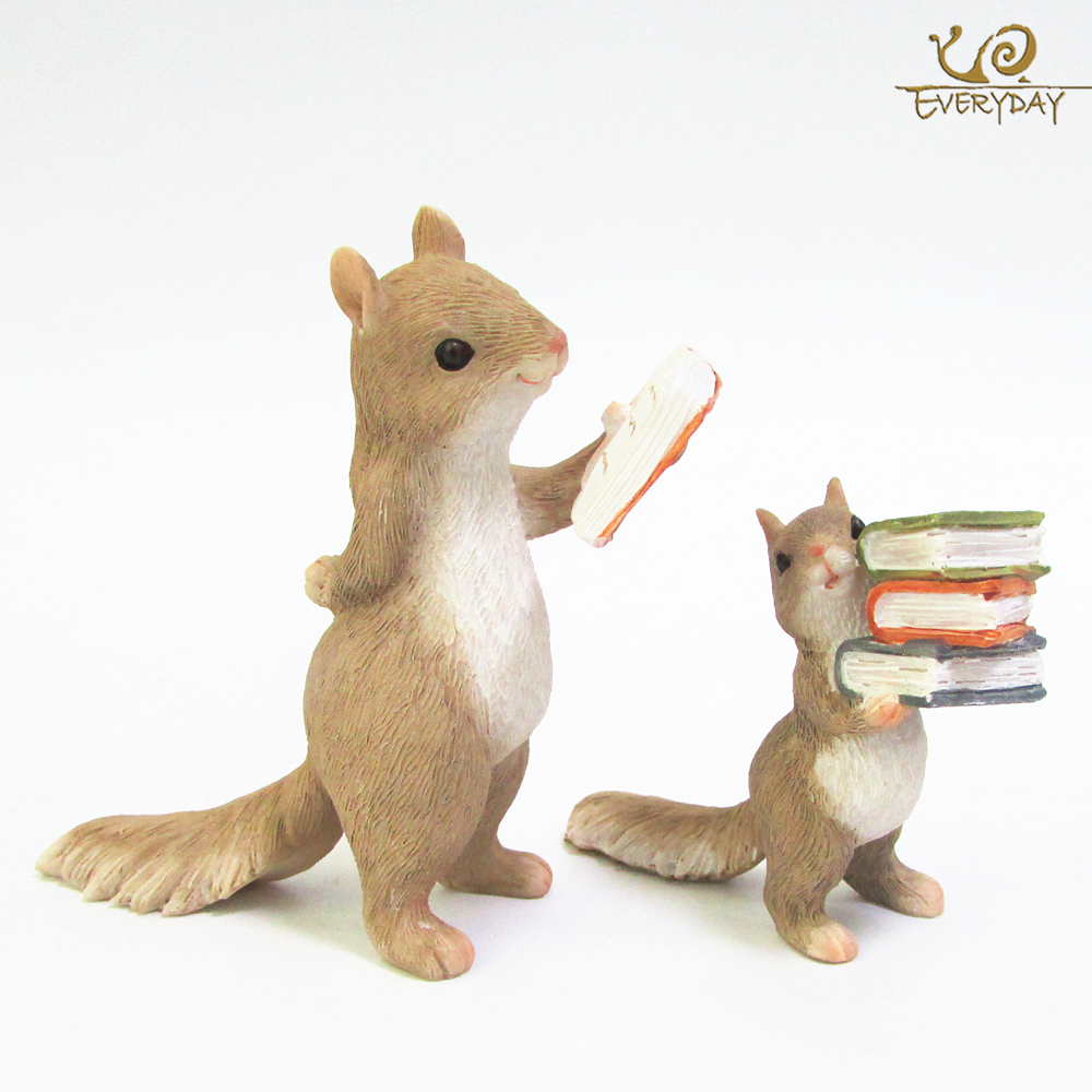 Everyday Collection Home Decoration Accessories Cute Animal Hedgehog Squirrel Rabbit Resin Miniature Figurines Birthday Gift