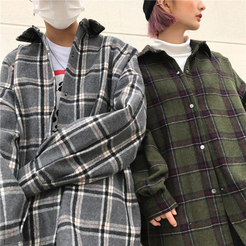 Carreaux Manteau Chemise Automne La 2018 Section Nouvelle Laine Mode Occasionnel L0188 Gray Taille Lâche À De Longue Printemps Femelle green Plus Femmes Drap Vintage 6Rqwaq