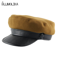 New Fashion Women Military Beret Hats PU Wool Flat Top Winter for Lady High Quality Snapback Casual Army Caps Wholesale