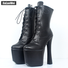 XTC 1020 gothic boots Lace-up platform in stretch black patent with 7 1/2 heel and side zipper.