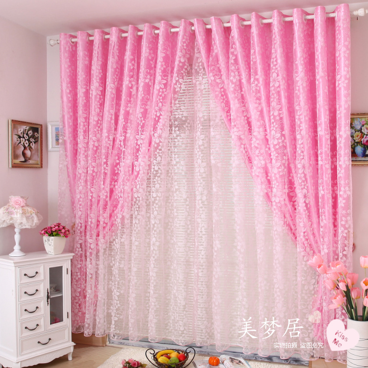 Rustic flock printing curtain shalian window screening princess real finished products short curtain