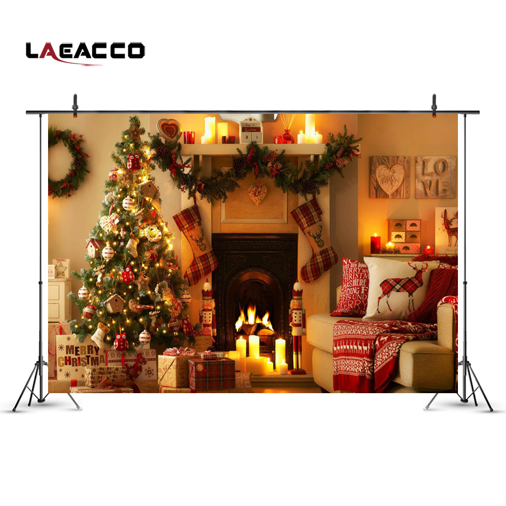 Laeacco New Year Home Decoration Christmas Tree Fireplace ...