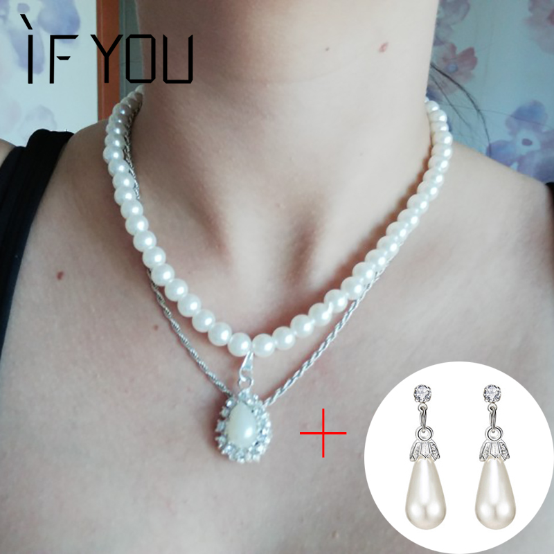 IF YOU Classic Silver Color Simulated Pearl Paved Crystal Water Drop Necklace Stud Earrings Jewelry Set for Women Wedding Gifts