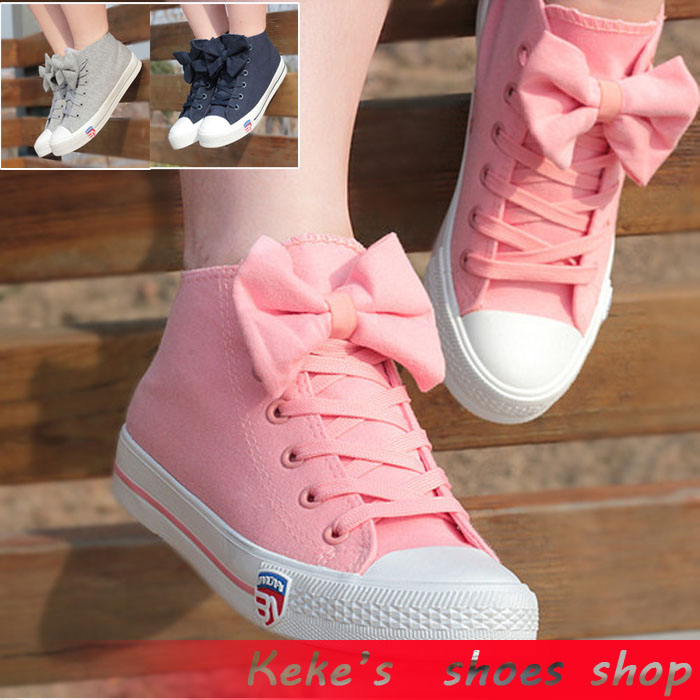 2014 New Bowknot Canvas Student Solid Women Shoes Air Fashion Rubber Flat Soft Woman Girl Shose