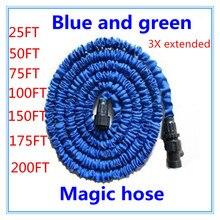 Envío libre 25-200FT manguera de Jardín con manguera de agua ampliable Jardín manguera de Agua azul verde conector UE/EE. UU. [con pulverizador]