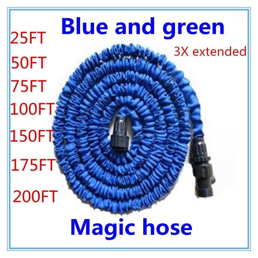 Freies verschiffen 25-200FT Garten schlauch mit erweiterbar wasser schlauch blau grün Garten Wasser schlauch stecker EU/UNS [mit heraus sprayer]