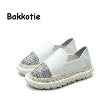 Bakkotie 2017 Printemps Bébé Fille Blanc Plat Enfants Pêcheur Garçon Noir Espadrilles Enfant Paillette Shoes Toddler Slip Sur Noir