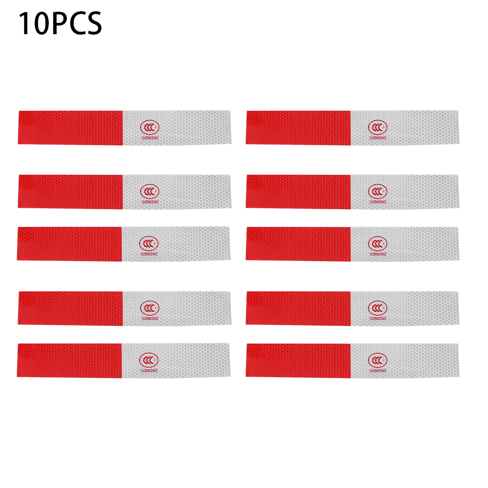 10pcs Car Truck Red/&White Safety Driving Warning Night Reflective Sticker Strips