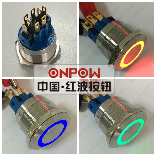 ONPOW 22mm Momentary Tri-color RGB LED ring LED Stainless steel Pushbutton switch (GQ22-11E/RGB/12V/S/new) CE, ROHS