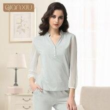Qianxiu Cotton Pajama Sets For Women Spring Casual Nightwear Modal Sexy Pijama