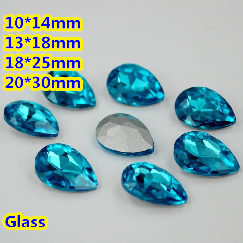 Aquamarine Color Pear Drop Crystal Fancy Stone Droplet Glass Stones 10*14mm,13*18mm,18*25mm,20*30mm Jewelry Making/Wedding dress