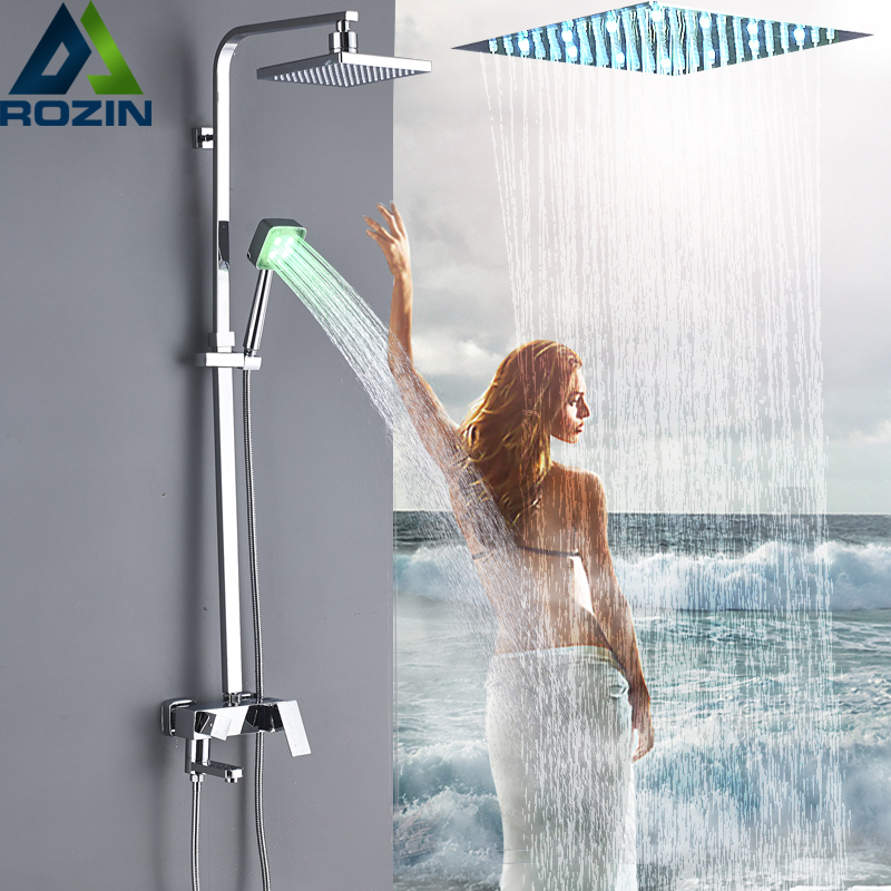 Modern Wall Mounted 8 Chrome Shower Faucet Column Set Single Handle LED Light Rain Shower Head and Handshower