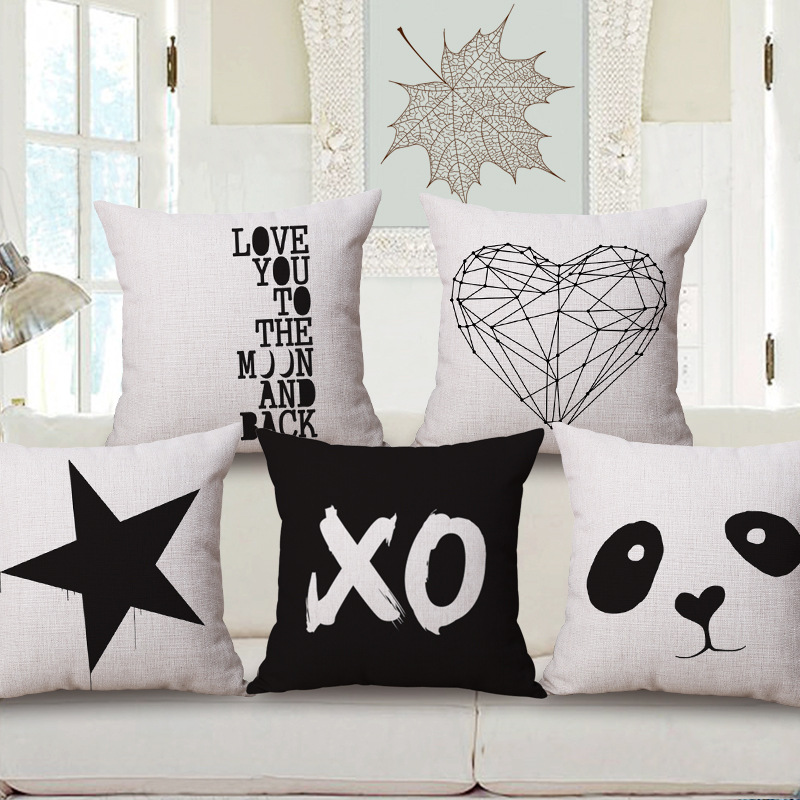5 styles love heart star custom cushion covers panda throw pillows cases 45x45cm xo black and - White Decorative Pillows