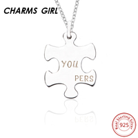 CHARMS GIRL Fashion Personalized Custom Dog Tag Letters Puzzle Silver Necklaces 925 Sterling Silver Women Clothing