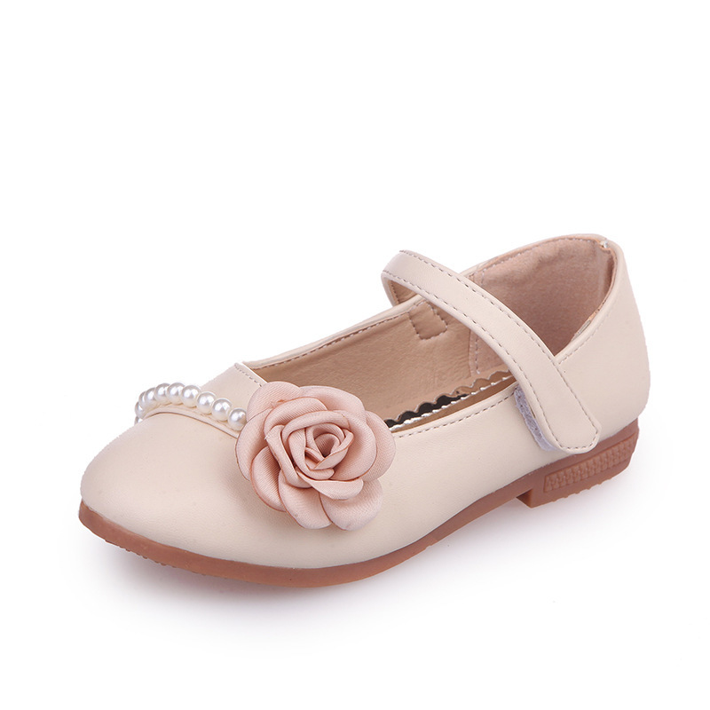 Mumoresip Soft PU Leather Girls Shoes Princess Floral Kids Flats With Pearl Beading Children's Casual Shoes For Girls Wedding