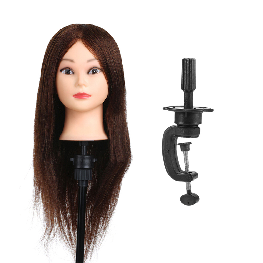 """26"""" Soft 100% Real Human Hair Practice Training Head Model with Clamp Holder Salon Hairdressing Dummy Head Mannequin Head Tool"""
