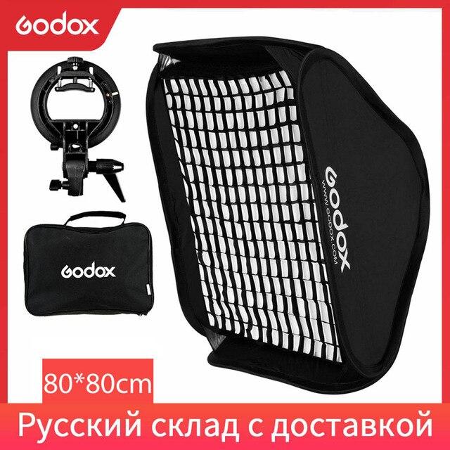 Godox Ajustable 80cm * 80cm Flash Softbox Grid + S type Bracket + Honeycomb Grid  Mount Kit for Flash Speedlite Studio Shooting