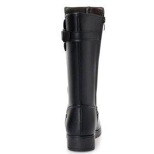 Image 4 - DRKANOL botas de nieve cálidas de piel de lana Natural para mujer, zapatos planos de invierno, botas de media caña de cuero genuino, impermeables, color negro, talla grande 35 43