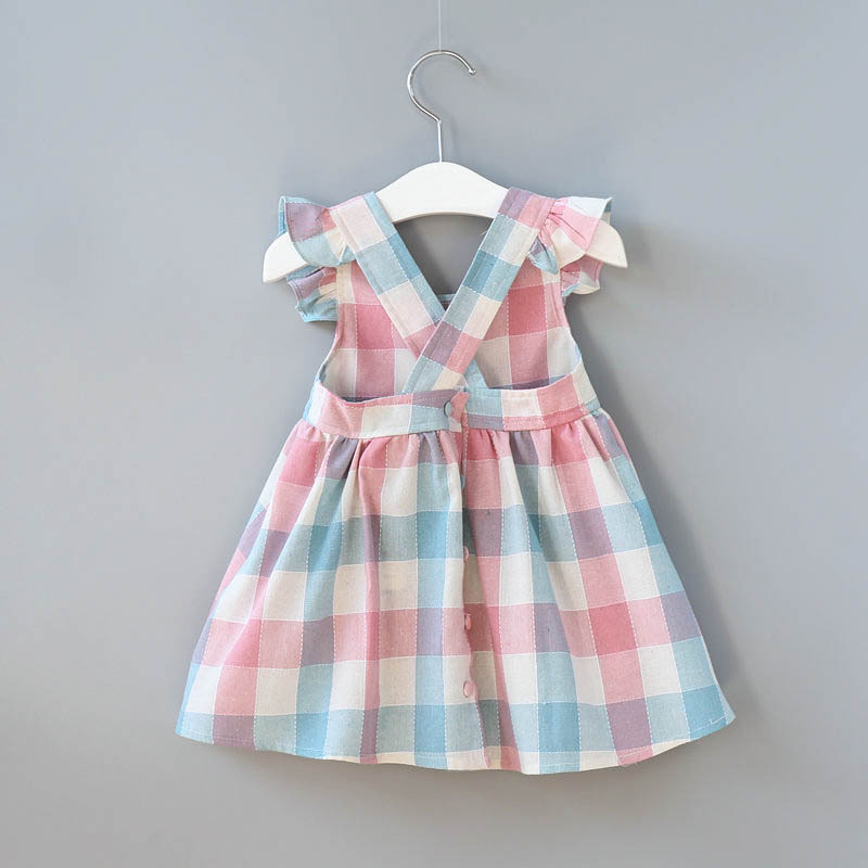 Summer Backless Dress For Girls Plaid One-piece Dress Kids Strap Dresses Clothes Vestido bebe 2-6 years old girls