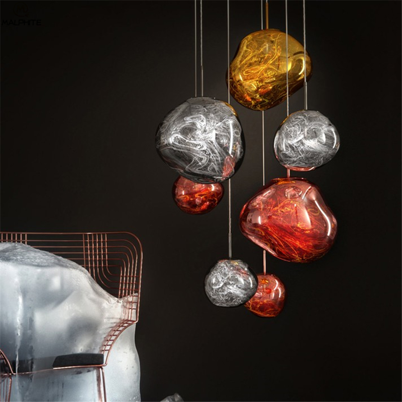 Nordic 20/30/40CM Volcano Lava Pendant Lights Tom Dixon Golden Silver Red Glass Pendant Lamp Living Room Bedroom Hanglamp Lamp