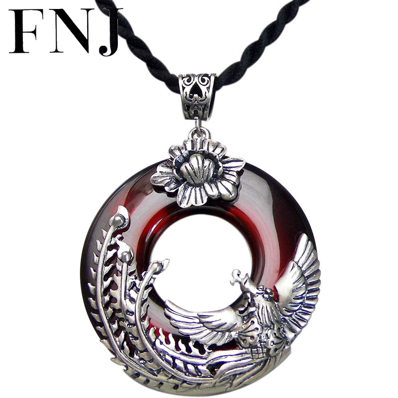 FNJ 925 Silver Phoenix Pendant Round Red Zircon Stone S925 Original Thai Silver Pendants for Women