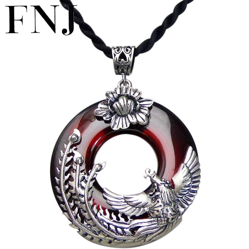 FNJ 925 argent Phoenix pendentif rond rouge Zircon pierre S925 Original Thai argent pendentifs pour femmes fabrication de bijoux