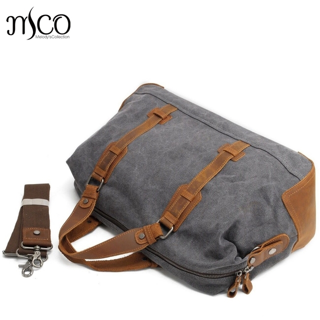 44b3d0f37833 US $66.82  2016 New Oversized Canvas Leather Trim Travel Tote Duffel Bags  shoulder handbag Weekend Bag Vintage Military Army Green Men Bags-in Travel  ...