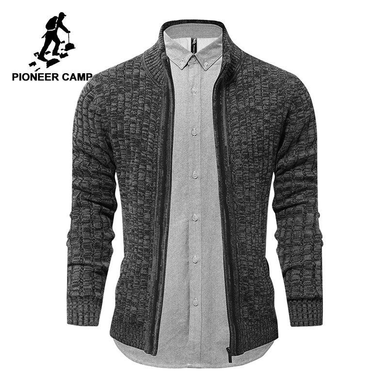 Pioneer Camp hommes chandail de marque-vêtements automne hiver solides zipper hommes cardigans top qualité mâle chandail