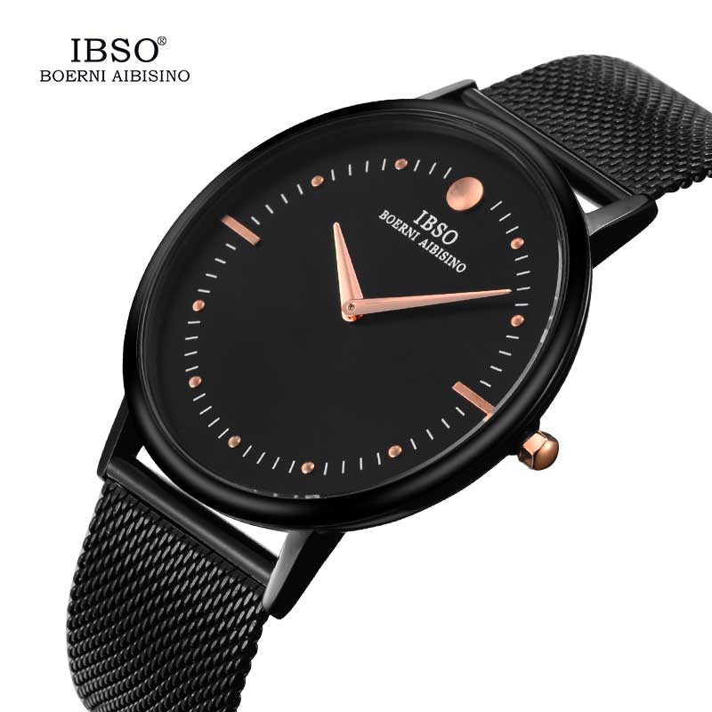 IBSO 7.5mm Ultra Thin Mens Black Watches Top Brand Luxury Stainless Steel Band Quartz Watch Men Clock 2018 Relogio Masculino top brand otex men watch stainless steel band analog display quartz wristwatch ultra thin dial men s watches relogio masculino