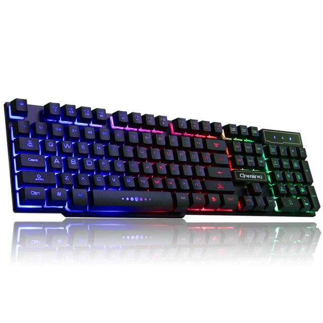LOIOG Russian / English 3 Color Backlight Gaming Keyboard Teclado Gamer Floating LED Backlit USB Similar Mechanical Feel 2