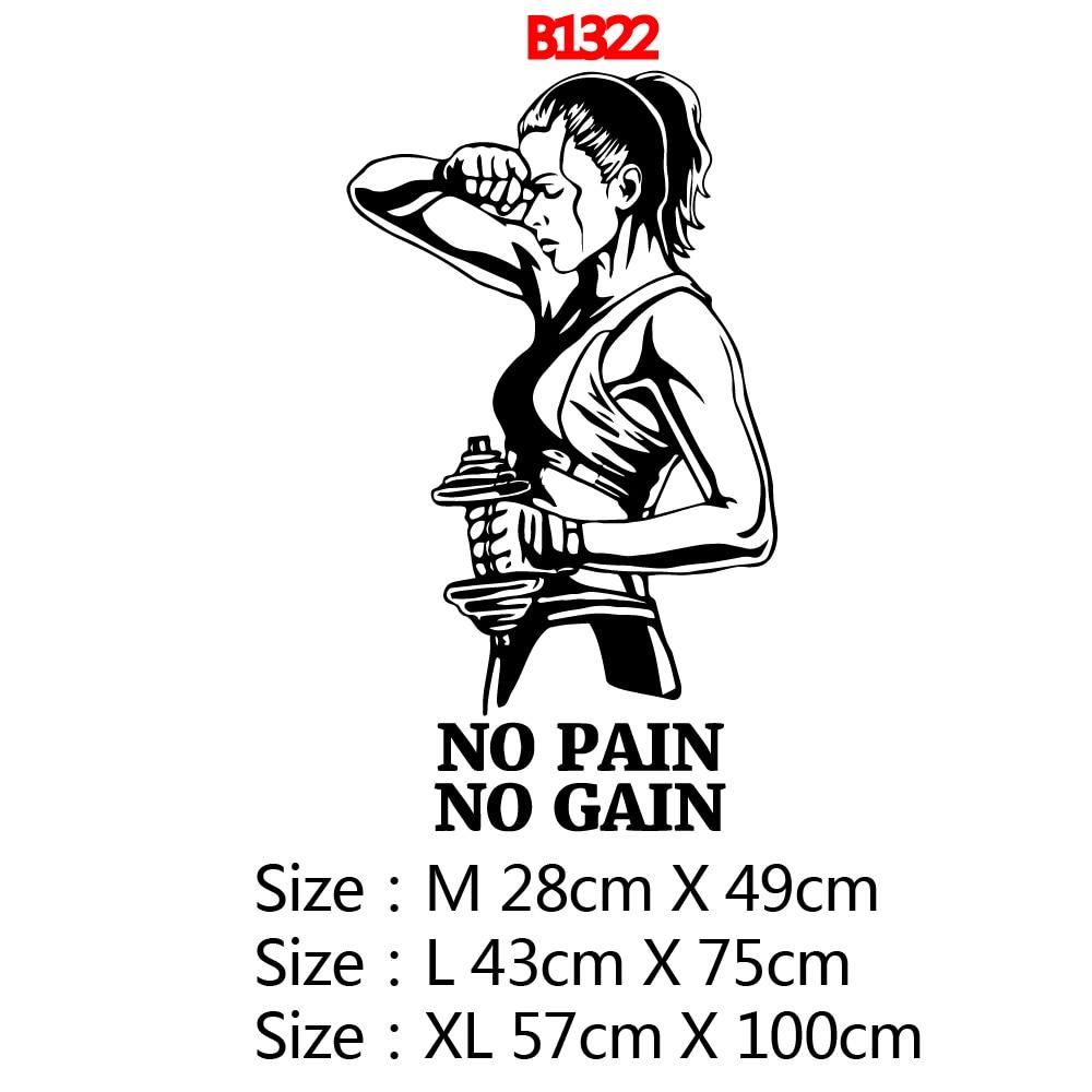 Hot No Pain No Gain Phrase Gym Vinyl Wallpaper Sticker For Gym