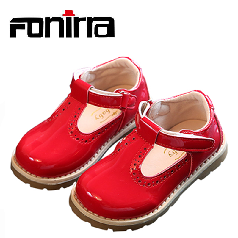 Hot Selling Children PU Leather Princess Dress Shoes Baby Girls Party Comfortable Openwork Solid Flat Shoes 233