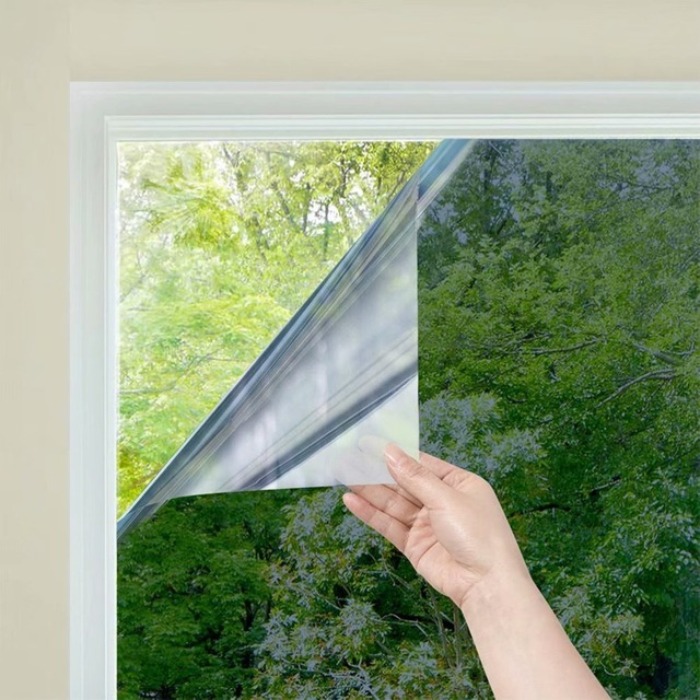One Way Mirror Window Film Daytime Privacy Static Non-Adhesive Decorative Heat Control Anti UV Window Tint for Home and Office