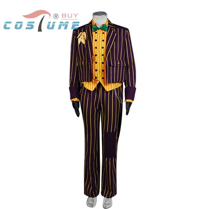 Batman Arkham Asylum Joker Dark Purple Jacket Coat Suit Yellow Long Sleeve Shirt For Men Halloween Cosplay Costume