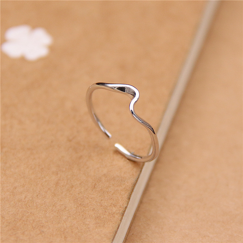 Fengxiaoling Real 925 Sterling Silver Simple Smooth Mobius Open Rings For Women Heartbeat Silver Ring Korean Fashion Jewelry