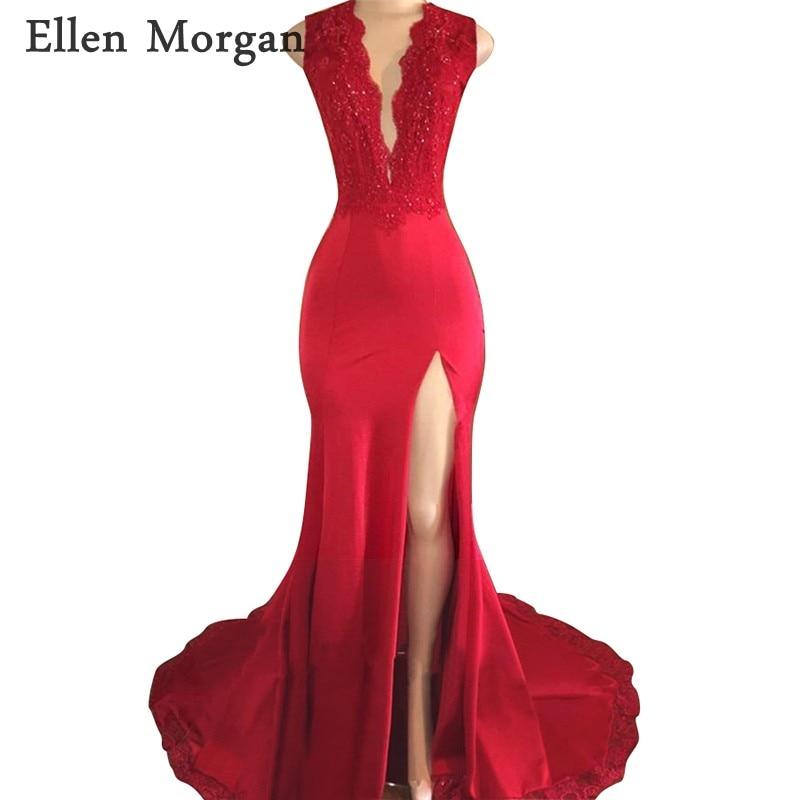 אדום ללא משענת בת ים שמלות נשף 2018 עבור אפריקאי שחור בנות תחרה V צוואר פיצול Elsatic סאטן Vestido דה Festa למסיבה שמלות