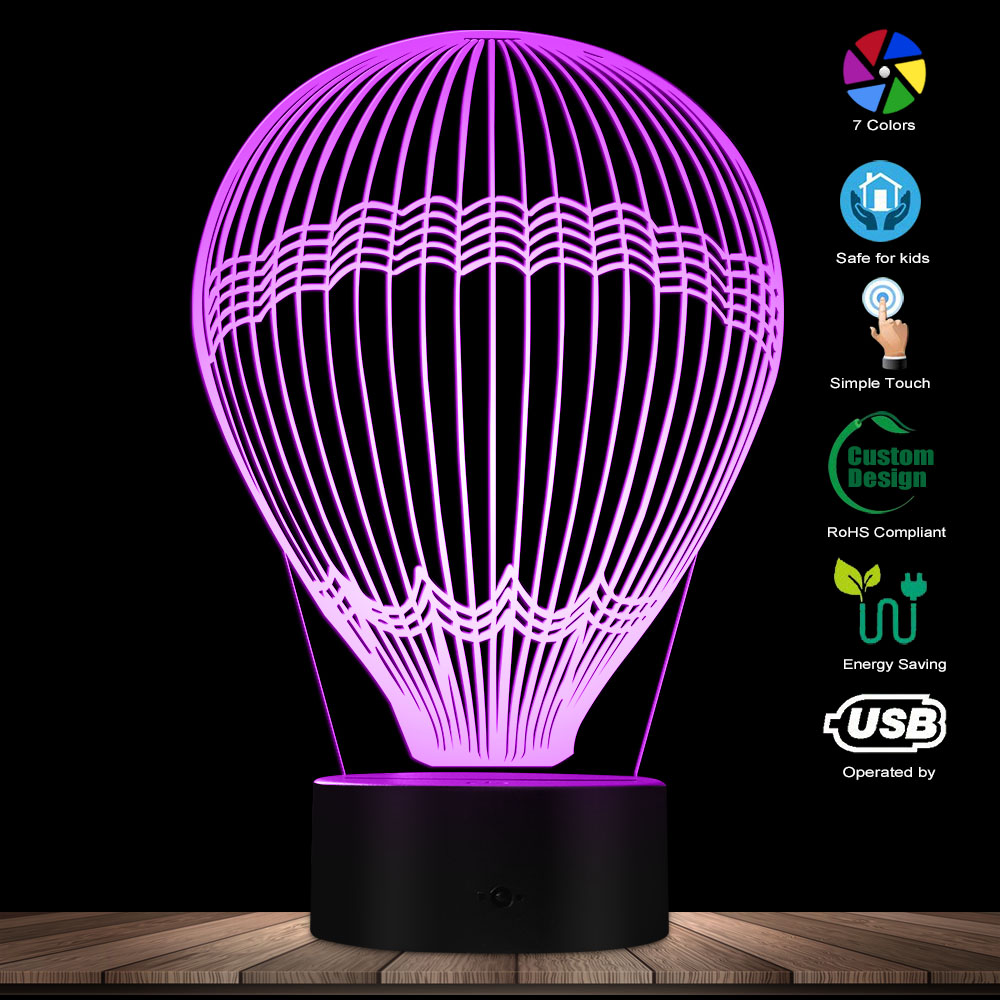 Hot Air Balloon 3D Effect Glowing LED Lamp Optical Illusion Table Lamp Around The World Decorative Lighting Kid Room Night Light