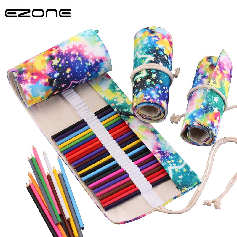 EZONE 36/48/72 Hole Star Sky Canvas Pencil Case Creative Colourful Roll Up Pencii Bag School Portable Roll Pouch Office Supplies