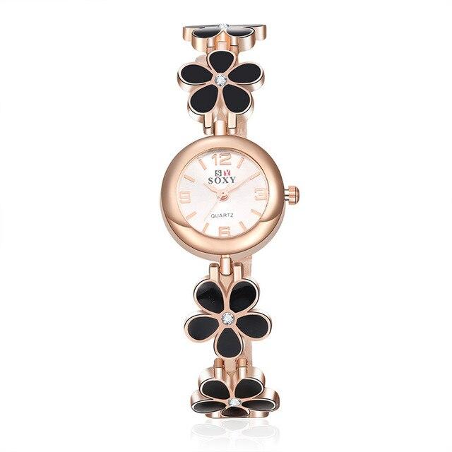 Soxy Luxury Brand Guardare Moda Donna Orologi D'oro Fiori Braccialetto Di Vigila