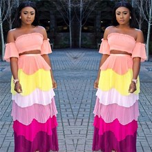 2018 Sexy Women 3 Colors Strapless Crop Top Long Skirt Two Piece Sets Clubwear Party Colorful Stripe 2