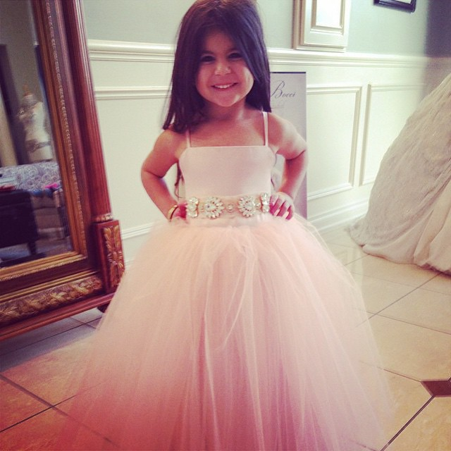 Cute Baby Pink Long Flower Girl Dress for Wedding Crystals Tulle ...