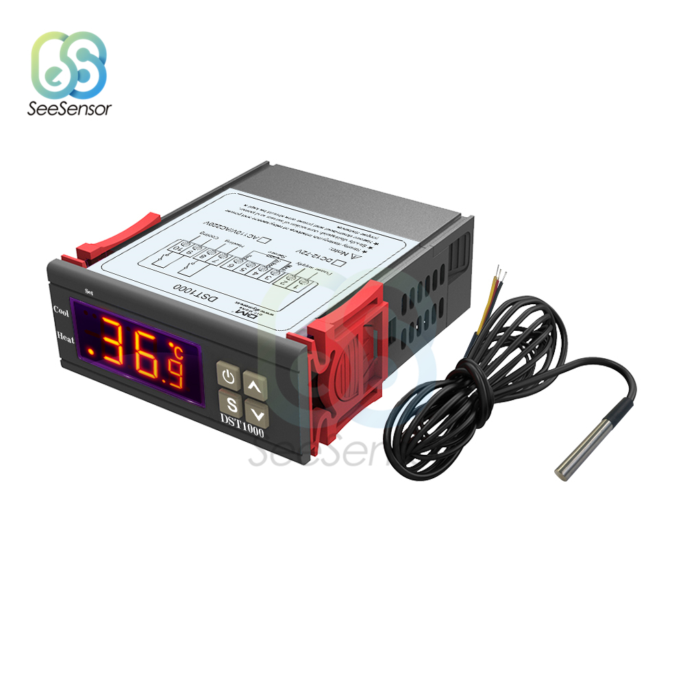 DST1000 LED Digital Thermostat for Incubator Temperature Controller Thermoregulator Relay Heating Cooling 12V 24V 110V 220V|Temperature Instruments|   - AliExpress