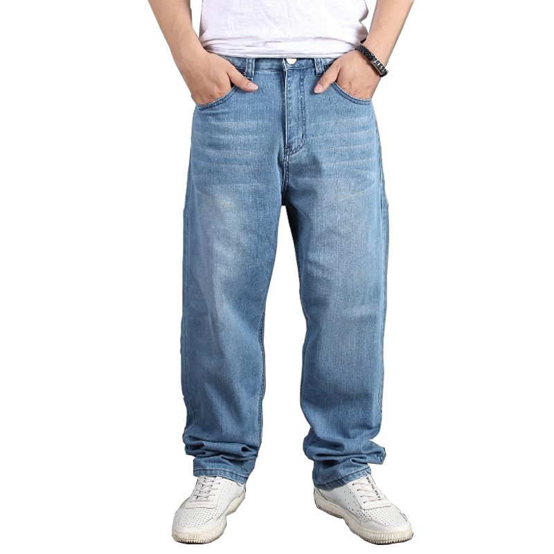 Men's Plus Size Baggy Hip Hop Jeans Pants Loose Skateboard Denim Men Jean Trousers Streetwear Plain Solid Plus Size 30-46